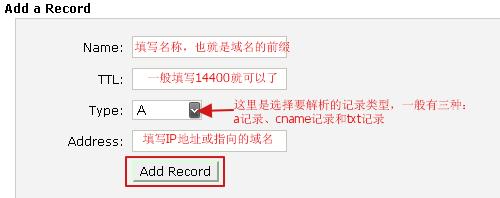 webhostingpad主机add a record